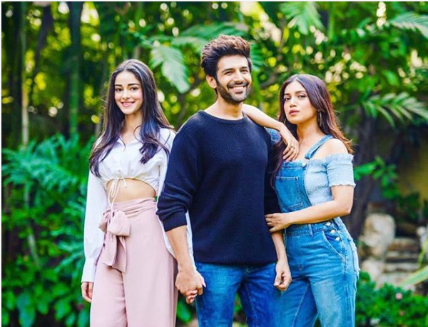 Ananya with Kartik Aaryan and Bhumi Pednekar
