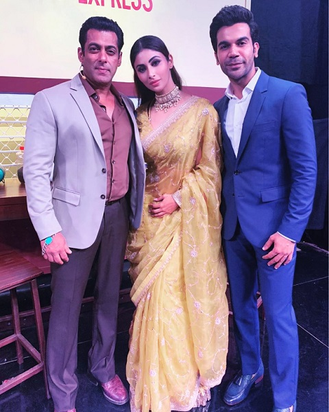 Mouni Roy with Bollywood stars Salman Khan and Rajkummar Rao