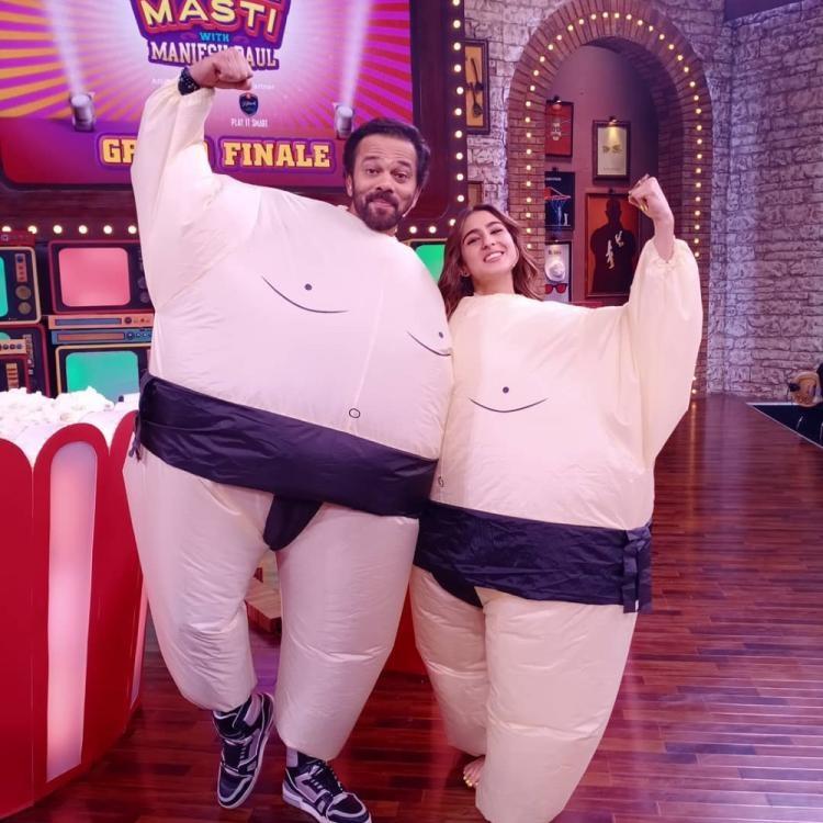 Sara Ali Khan & Rohit Shetty in a funny costume