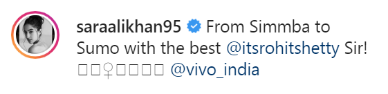 Sara's caption on her Instagram post