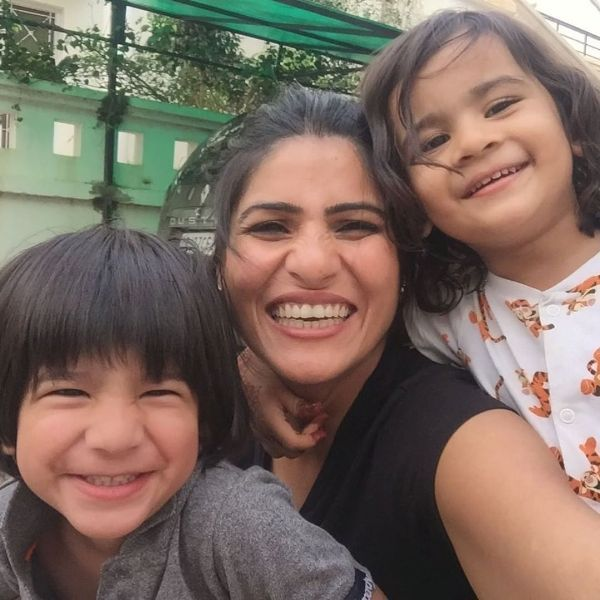 Rubika with her kids