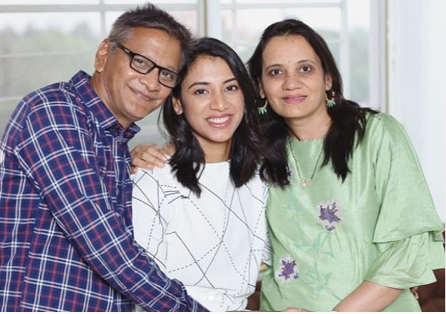 Smriti with her father and mother