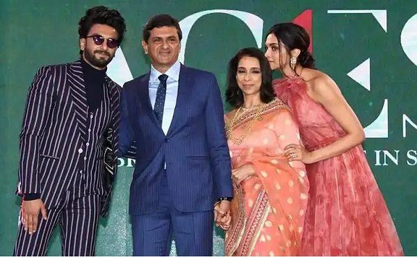 Prakash Padukone with his wife Ujjala, daughter Deepika Padukone and son-in-law Ranveer Singh