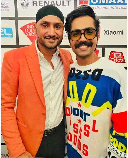 Harrdy Sandhu with Harbhajan Singh