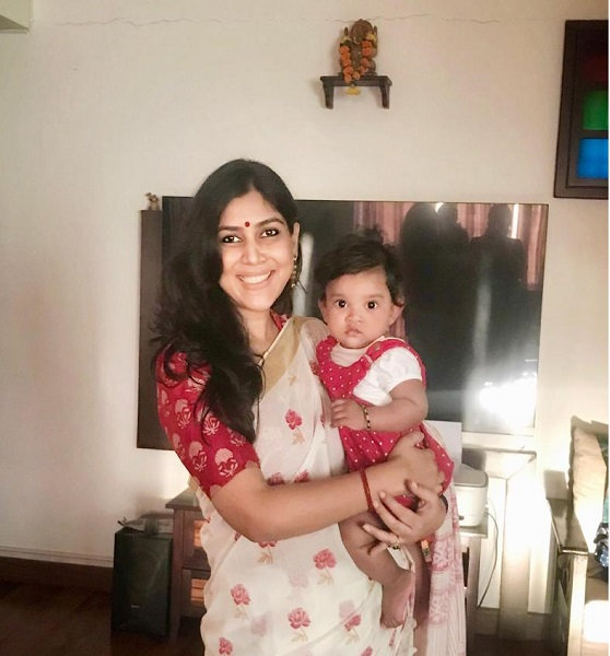 Sakshi with her adopted daughter
