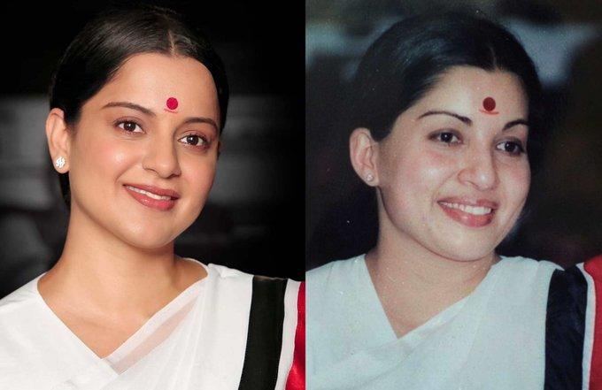 Kangana Ranaut (Left), Late Jayalalithaa (Right)