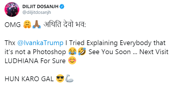 Diljit Tweeted A Photoshopped Pic With Ivanka Trump Guess What Ivanka Replied Reporter Live