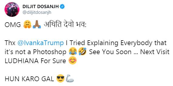 Diljit Dosanjh's tweet